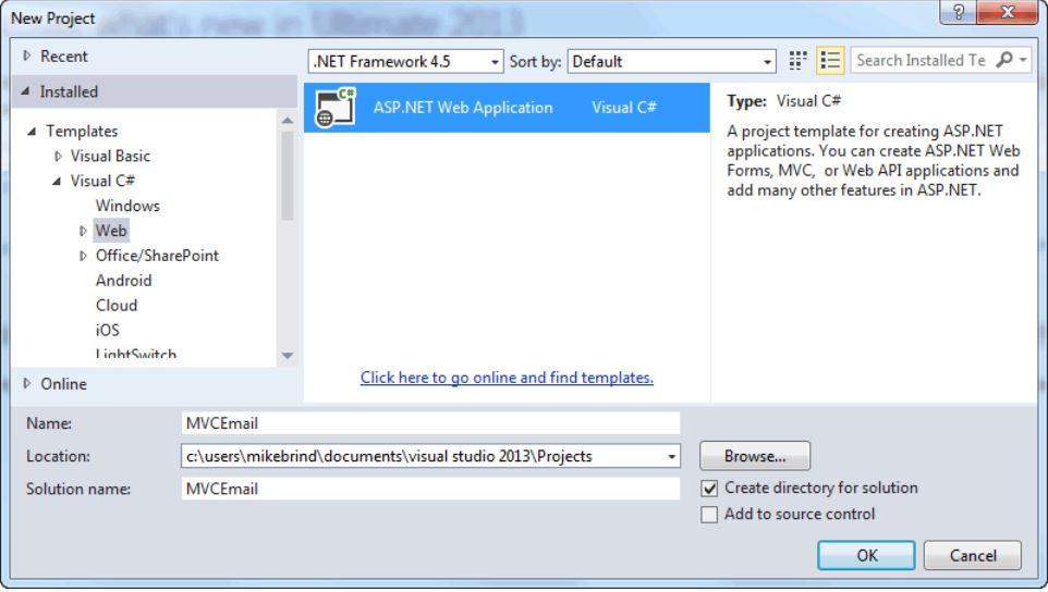 Visual Studio New Project Dialog