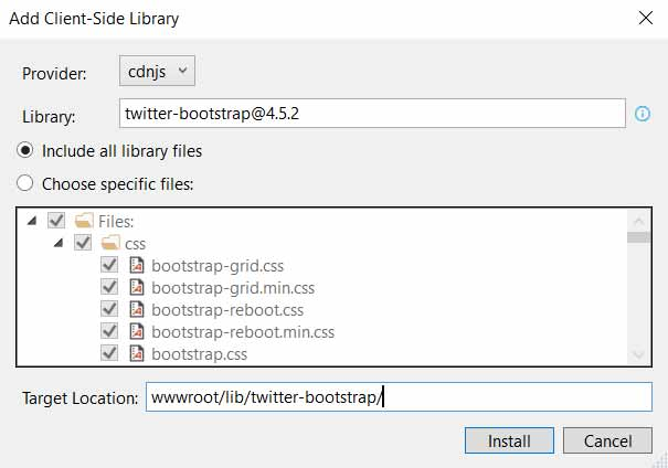 asp.net add client side library