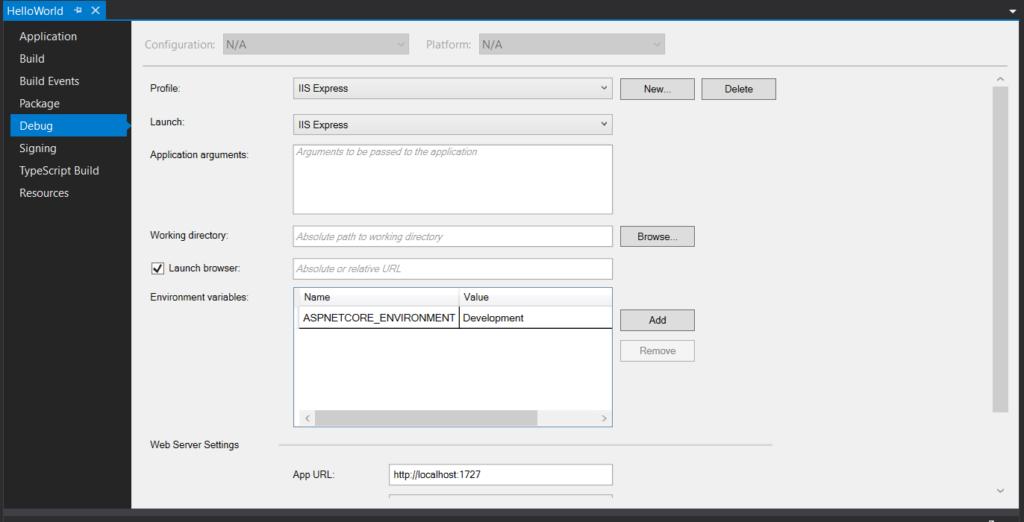 asp.net core debug setting