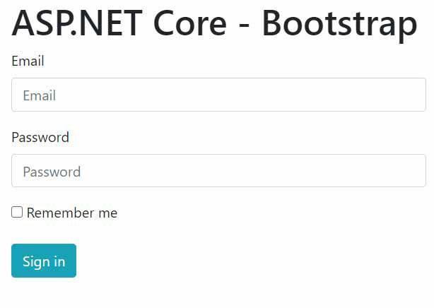 asp.net core boostrap login page